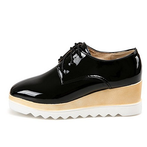 AllhqFashion Womens Solid Kitten Heels Lace Up Square Closed Toe Pumps-Shoes Black 9VpUv