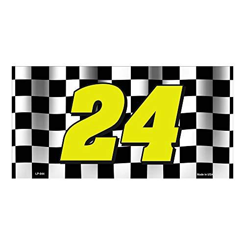 Yves Horace Jeff Gordon NASCAR #24 Checkered Racing Flag Novelty Vanity Metal License Plate Tag Sign