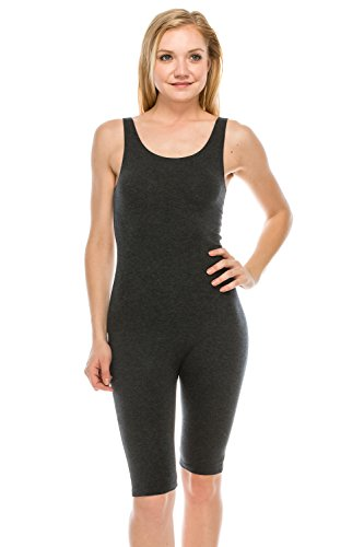 The Classic Womens Catsuit Cotton Stretch Knee Length Active One Piece Footed Jumpsuti (Large, Charcoal)