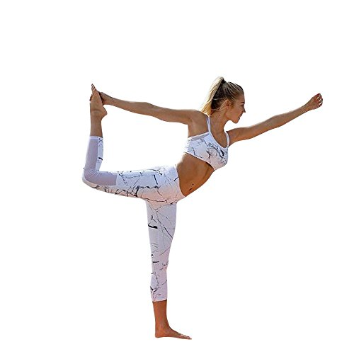 2 Piece Capri Pullover - Women's Two Piece Gym Yoga Outfits Tie Dye Crop Top Leggings Set Tracksuit Sport Workout Set Casual Pants Capri Set