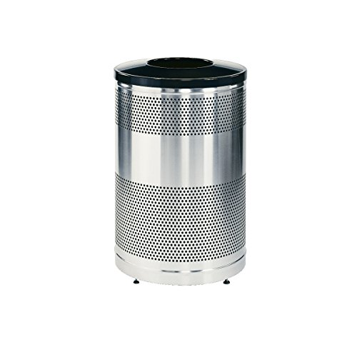 - Rubbermaid Commercial Silhouettes Trash Can, 51 Gallon, Silver, FGS55SSTBKPL