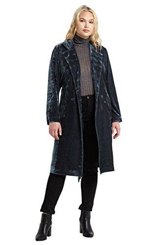 Poshsquare Women's Soft Velvet Slash Tie Pocket Classic Plus Size Trench Coat Jacket Charcoal Blue 1X/2X (Velvet Coat Belted)