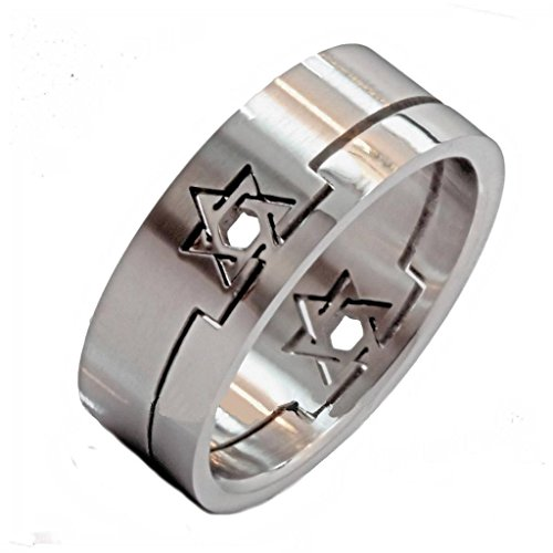 MJ Metals Jewelry 8mm Star of David Shaped 2 Part Insert Puzzle Ring Surgical Steel 316L Stainless Steel Size 8