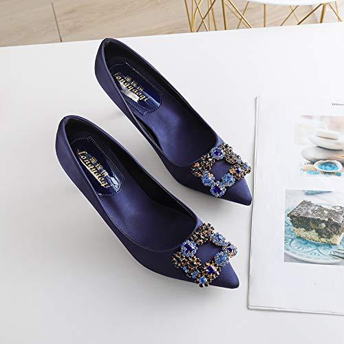 HOESCZS High Heels Frühling Und Sommer Mode Einfache Mode Einzelne Schuhe Kristall Diamant Schnalle Spitz Stiletto Schuhe Flacher Mund Schuhe Hochzeitsschuhe B07QK4Z5GJ Sport- & Outdoorschuhe Aktuelle Form