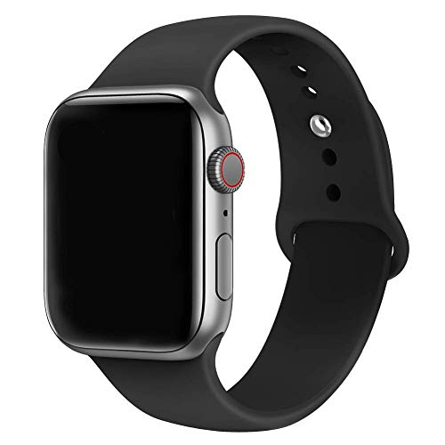 (MadeforOnline : Band Compatible with Apple Watch 44mm 42mm 40mm 38mm Soft Silicone Waterproof Replacement Band iWatch Bands Wristband for Series 4,3,2,1, Nike+, S/M M/L (Black, 42mm M/L))