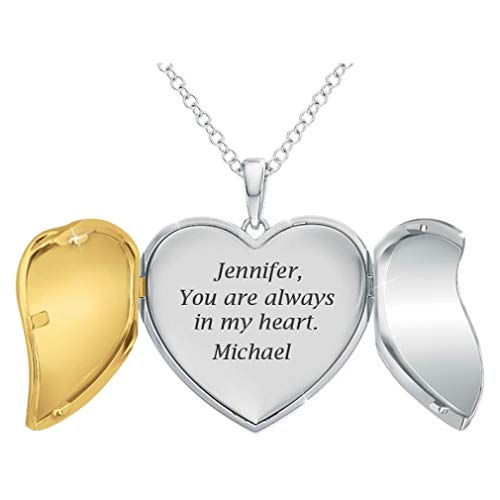 "The Danbury Mint ""You are Always in My Heart"" Personalized Locket Pendant – Personalized Jewelry Gifts – Locket Necklaces for Women – Romantic Jewelry Gifts – Romantic Sentiment Gifts from The Danbury Mint"