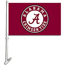 NCAA Alabama Crimson Tide Car Flag with Wall Bracket 18 x 11in