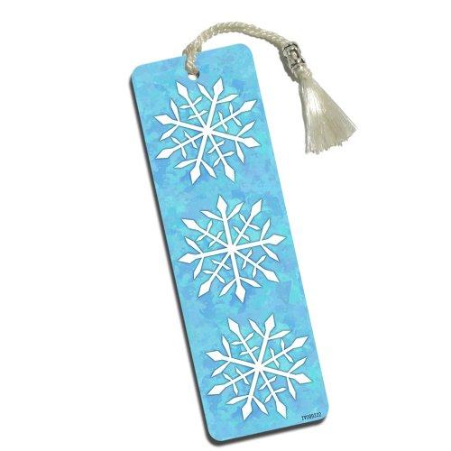 Snowing Snowflakes Printed Bookmark with Tassel