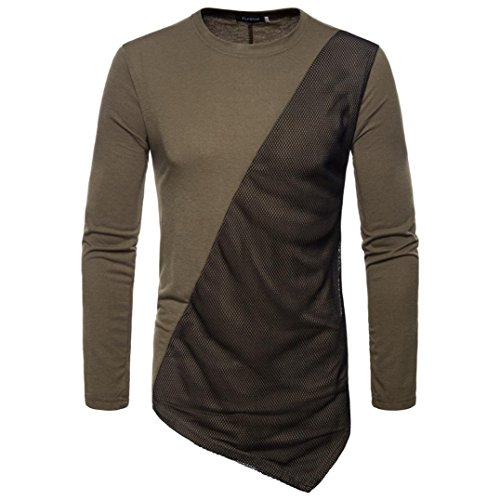 Pervobs Long Sleeve Shirts, Big Promotion! Men's Autumn Casual Joint Long Sleeved Patchwork Slim Fit T-Shirt Sweatshirts Top Blouse (M, Army Green) by Pervobs Mens Long Sleeve Shirts