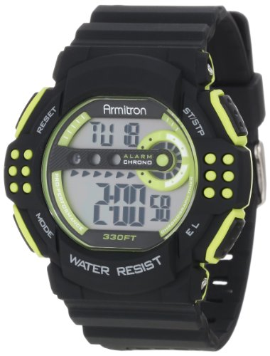 Armitron Sport Men's 40/8270LGN Large Light Green Accented Black Resin Strap Chronograph Watch