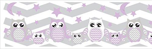 Purple Owl Border Wall Decals Stickers/Chevron Border Woodland Forest Animal Nursery Decor (Purple -