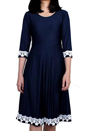 MayriDress Swing Dress Vintage Scoop Neck Party Club Casual A-Line 3/4 Sleeve Evening Cocktail Floral Lace (X-Large, Navy - Code Uk Warehouse Promo