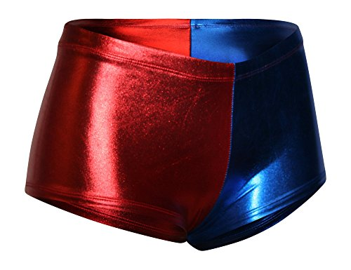 Sexy Harlequin Joker Costumes (Dilly Duds Mid-Rise/Cheeky Red and Blue Metallic Spandex Shorts (Large))