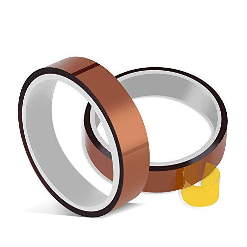 Heat Resistant Tape No Residue High Temperature Tape Heat Transfer Tape Sublimation Tape Polyimide Tape Sublimation Heat Tape PI Tape 2 Rolls 10mm X 33m 100ft