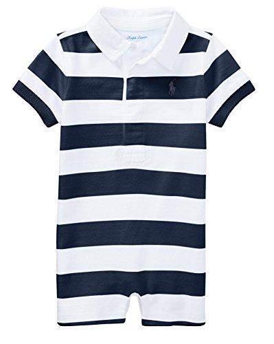 RALPH LAUREN Baby Boys Striped Cotton Rugby Shortall (12 Months, Summer Navy/White) (Ralph Lauren Striped Rugby Shirt)
