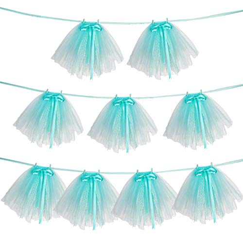 Noex Direct 9 PCS Tutu Table Skirt, Mini Mint Tulle Tutu Garland Lace and Bow Ballet skirt for Birthday Event Wedding Party Decoration (with 29.53 ft Ribbon)