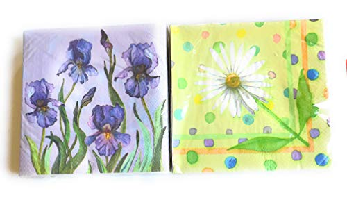 Floral Napkins Set - Daisies and Iris Floral Theme Napkins - 12 X 12 Size - 80 Total Napkins