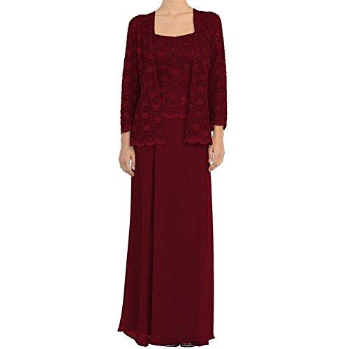 Festlichkleider Damen Abschlussballkleider Abendkleider Chiffon Cocktailkleider Flieder Braut Ballkleider Weinrot Langes mia La qw68gZx8