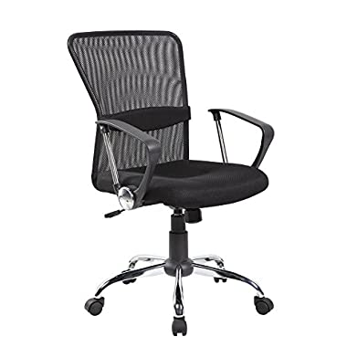 Anji Modern Furniture Mid-Back Swivel Mesh Computer Home and Office Task Chair, Height Adjustable, 8002-BK