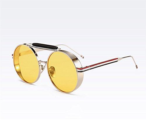 Keephen que conducen los marco Gafas clásico sol del vintage Amarillo Plata vidrios del Steampunk UV400 redondas de de wqw7fOrxP