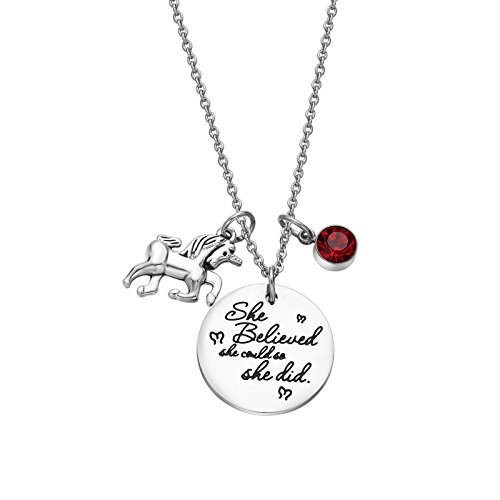 - Fullrainbow 2018 Stainless Steel Inspirational Message Heart Necklace Pendant Charm Chain Necklace She Believed She Could So She Did (Jan)