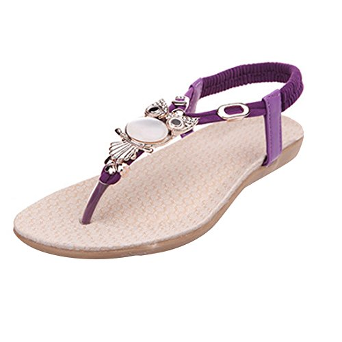 Purple Womens Sandals - Fashion Brand Best Show Women's Summer Style Elastic T-Strap Bohemia Beaded Owl Flat Sandals (7.5 B(M) US, Purple)