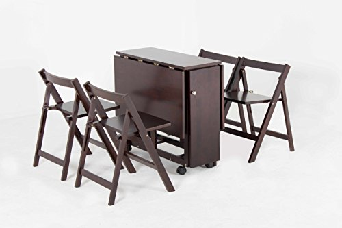 Oliver Smith – 4 Person 48″ x 32″ – Solid Wood – Space Saving Drop Leaf Table Set – 5 Piece Set – 1 Table – 4 Folding Chairs – Espresso – sw707crs