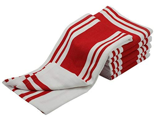 Madras Collections Kitchen Towels with Hanging Loop (6 Pack, Pre Washed 27x19 Inch) 100% Pure Cotton Natural Dishcloths Sets Kitchen Dish Cloths, Tea Towels Red ()