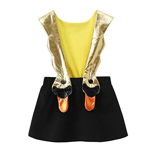 (Lollyeca Toddler Kids Girl Cartoon Swan Suspender Skirt Overalls Outfits Clothes (Black, 18-24)