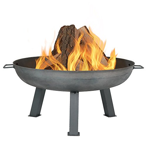 Cheap Sunnydaze 30 Inch Large Fire Pit Bowl, Outdoor Wood-Burning, Steel Colored Cast Iron