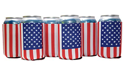 Neoprene Can Cooler Sleeve Collapsible Coolie Economy Bulk Insulation with Stitches Perfect 4 Events,Custom DIY Projects Variety of Colors (6, USA Flag) by QualityPerfection (Image #4)
