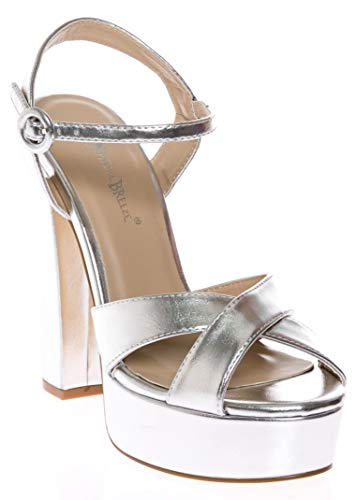 CALICO KIKI CAELA-CK01 Women's Buckle Ankle Strap Open Toe Chunky High Heel Platform Dress Sandals (10 US Silver MET)