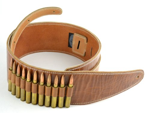 Pete Schmidt Handcrafted Leather Guitar/Bass Strap – Brown with 30-06 (Dummy) Bullets (Wide – 3 1/2)