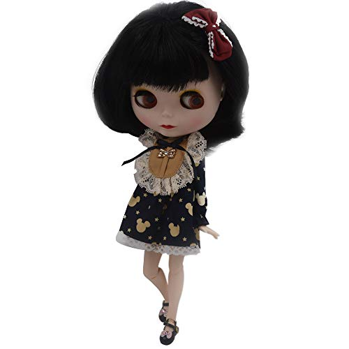 lar to Neo Blythe, 4-Color Changing Eyes Matte Face and Ball Jointed Body Dolls, 12 Inch Customized Dolls Can Changed Makeup and Dress DIY, Nude Doll Sold Exclude Clothes (Black) ()