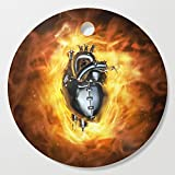Society6 Wooden Cutting Board, Round, Heavy metal heart by grandeduc