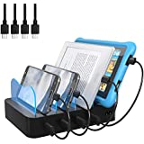Hercules Tuff Charging Station Organizer for Kindle Fire, Samsung Tablets & More - 4 Port for Multiple Devices - 4 Micro USB Cables Included