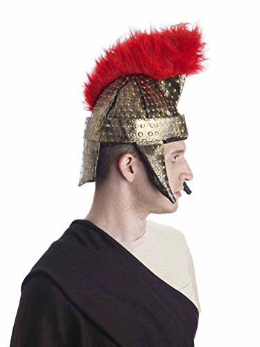 [Plush Gold Crested Roman Centurian Soldier Costume Trojan Warrior Helmet] (Trojan Halloween Costumes)