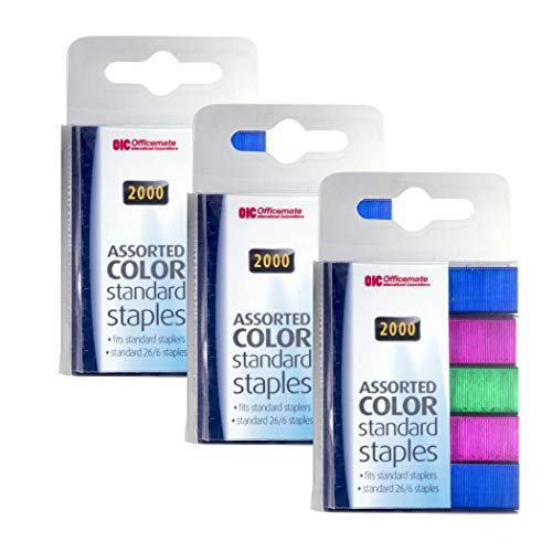 Officemate Standard Staples with 2,000 Per Box, Assorted Colors, Pack of 3 (91939)