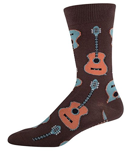 socksmith-mens-socks-guitars-crew-brown-1pair