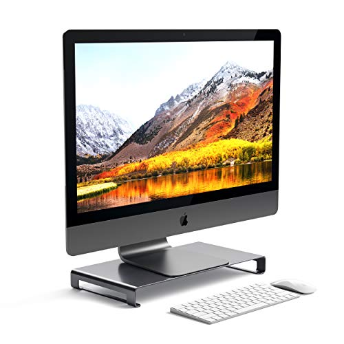 Satechi Aluminum Universal Unibody Monitor Stand - Compatible with 2017/2018 MacBook Pro, iMac Pro, Google Chromebook, Microsoft Surface Go, Dell, Asus and more (Space Gray)