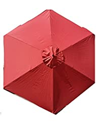 Sun-Ray 9 Solar Lighted Market Patio Umbrella, Burnt Ochre