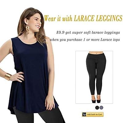 LARACE Women Solid Sleeveless Tunic for Leggings Swing Flare Tank Tops at Women's Clothing store
