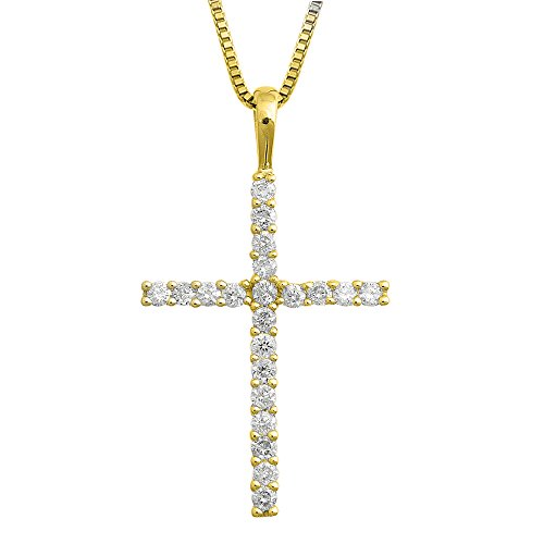 IGI Certified 14K Yellow Gold Cross Diamond Pendant Necklace (1/4 Carat) (1/4 Ct Diamond Cross Pendant)