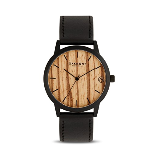 Oakmont Timepieces Mens Womens Wooden Watch – Black Case. Gift Box 12 Month Warranty Included