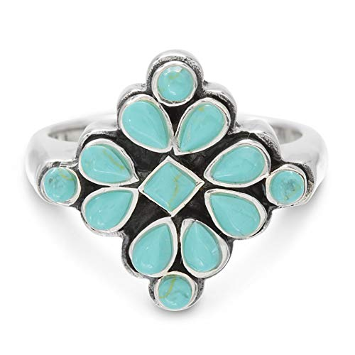 - Willowbird Rhodium Plated Sterling Silver Simulated Turquoise Round & Teardrop Cabochon Cluster Ring for Women (Size 7)