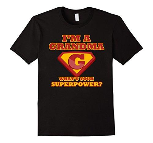Mens 2 Sided Superhero Tee: I'm a Grandma What's Your Superpower? 2XL Black - Super Grandma Costume