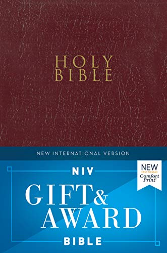 NIV, Gift and Award Bible, Leather-Look, Burgundy, Red Letter Edition, Comfort Print