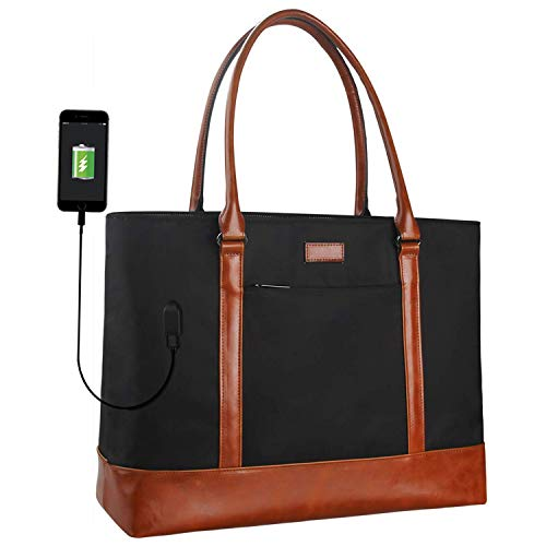 MONSTINA Woman Laptop Tote Bag,USB Teacher Bag Large Work Bag Purse Fits 15.6 in Laptop