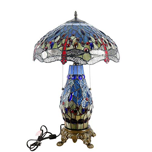 - Warehouse of Tiffany's T18275TGRB Dragonfly Tiffany-Style Table Lamp with Lighted Base, 26