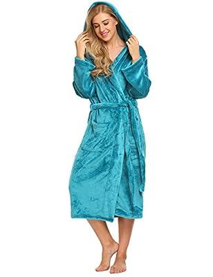 Ekouaer Women Fleece Robe Hooded Bathrobe Long Plush Microfiber Sleepwear with Pockets S-XL
